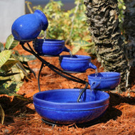 Blue Ceramic Outdoor Cascading Fountain Bird Bath with Solar Pump BCF5618485
