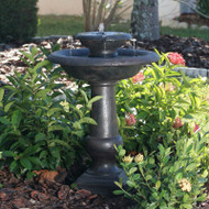 2-Tier Outdoor Solar Bird Bath Fountain in Oiled Bronze Finish Resin CSWF518951