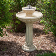 2-Tier Solar Fountain Bird Bath in Weather Resistant Fiberglass Resin SKG5871651
