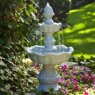 2-Tier Outdoor Fountain with Pineapple Top in Weather Resistant Resin WGPF51895