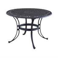 48-inch Round Black Metal Outdoor Patio Dining Table with Umbrella Hole RBM6985418415