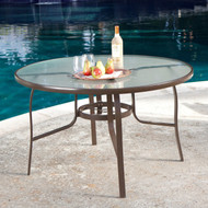 48-inch Round Glass-Top Outdoor Patio Dining Table with Umbrella Hole CDRT561841