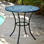 30-inch Round Metal Outdoor Bistro Patio Table with Hand-Laid Blue Tiles CMGE489481