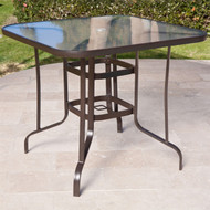 40-inch Outdoor Patio Dining Table with Glass Top and Umbrella Hole CRBH69581844