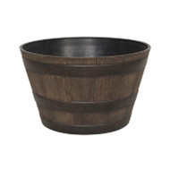 15-1/2 Round Whiskey Barrel Planter in Aged Walnut Finish Resin SWB15P3180