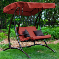 2-Seat Outdoor Porch Swing with Canopy in Terracotta Red LBPS2198