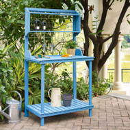 Blue Wood Potting Bench with Garden Tool Hanging Trellis and Slatted Shelf BPRHG518981