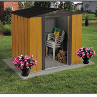 Woodgrain Finish Steel Metal Storage Shed - Made in USA EDS28759