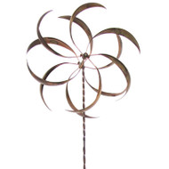 Metal Curved Leaf Spinning Outdoor Garden Wind Spinner with Stake LWSP651284195