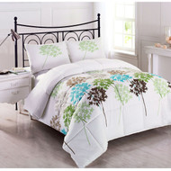 Twin size 2-Piece Reversible Microfiber Comforter Set with Leaves Pattern CBS46945