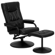 Black Faux Leather Recliner Chair with Swivel Seat and Ottoman FLROB109-4