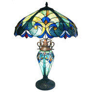 3-Light Victorian Tiffany Style Multi-Colored Glass Table Lamp CL3TL139-4