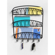 3-Tier Letter Holder Organizer with Key Hooks in Black Metal Finish SD3LH2302