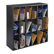 Wood 18 Compartment Mail Sorter Letter Holder Organizer in Black WMS18C139