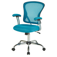 Blue High Back Mesh Office Chair with Padded Armrest ASMB5169851855-4