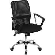 Black Mid-Back Mesh Office Chair with Chrome Finished Base FMBMCH69-3