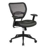 Air Grid Mesh Back Managers Office Chair with Black Leather Seat OSPAGOC13698-3
