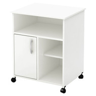 Modern Home Office Printer Stand Cart with Casters in White SAPSW8735