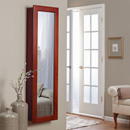 Wall Mounted Locking Jewelry Armoire with Mirror in Cherry Wood Finish BLWMLA1896815-4
