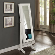 Modern Jewelry Armoire Full Length Tilting Cheval Mirror in Gloss White Finish MJA516984815-4