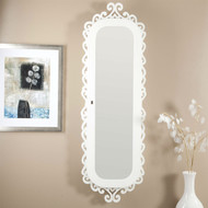 Wall Mounted Jewelry Cabinet Mirror Armoire with Gloss White Scrolling Border WLJA5198415-4