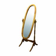 Classic Oval Cheval Floor Mirror with Natural Wood Finish Frame ONFM4725-3