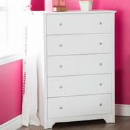 Classic 5-Drawer Bedroom Chest of Drawers in White Wood Finish VFDC519841511