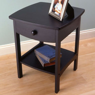 Black 1-Drawer Bedroom Nightstand Contemporary End Table BODNWB93657152