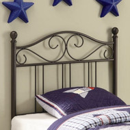Twin size Black Metal Headboard with Scrolling Accents WHH5041