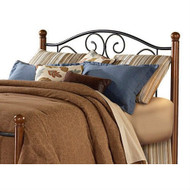 Full size Headboard in Matte Black Metal with Walnut Finish Wood Posts FBD9154
