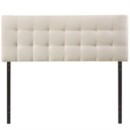 King size Off-White Ivory Fabric Button-Tufted Upholstered Headboard KHBWH58498541