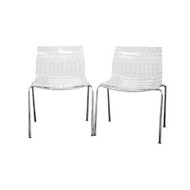 Set of 2 Modern Dining Chairs with Clear Seat and Metal Legs OTCASOT187