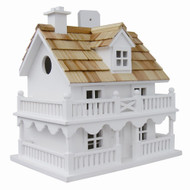 White Cottage Style Wood Birdhouse with unpainted Nest Box Bird House WBHC5419