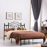 Full size Black Platform Bed Frame with Metal Slats and Headboard FMPBC5878951