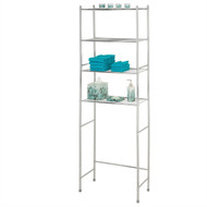 Bathroom Linen Tower Over the Toilet Shelving Unit in Chrome Metal Finish CMBSHD586512