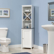 Bathroom Linen Tower with Open Shelving and Storage Cabinet in White SBCLT93821