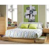 Full/Queen size Modern Platform Bed Frame in Natural Wood Finish FQBNM584471