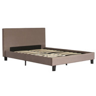 Queen size Brown Upholstered Platform Bed Frame with Headboard BUPV51984271