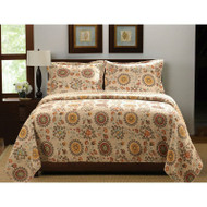 King Retro Moon Shaped Floral Medallion Reversible 3 Piece Quilt Set RMSGHFKI66