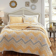 Full / Queen 3 Piece Geometric Sunset Oversized Cotton Quilt Coverlet Set SDFQ1488