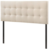 Full size Ivory Fabric Upholstered Button-Tufted Headboard EFHW9371529
