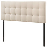 Queen size Ivory Fabric Padded Mid-Century Upholstered Headboard LQIBHW985412