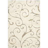 3'3 x 5'3 Shag Area Rug in Beige Off White with Scrolling Floral Pattern SRC493152