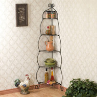 Corner Bakers Rack 5-Tier Shelves with Decorative Metal Scrollwork YMSE519851