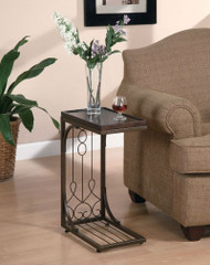 Brown Scroll Design Side Sofa Tray Snack Table w/ Copper Base ACOB1488
