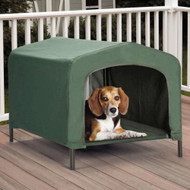 Portable Outdoor Dog House Elevated Covered  Doggy Cot Water-Resistant in Green WPR5198452744