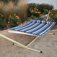 Blue Navy Stripe Quilted 13-Ft Hammock with Heavy Duty Bronze Metal Stand NQHS51988524