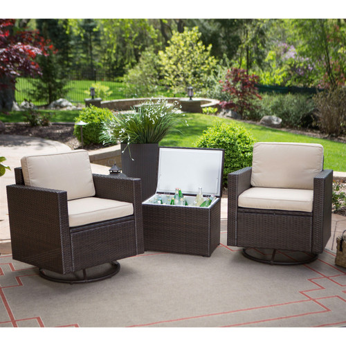 Wicker Resin 3 Pc Patio Furniture Set 2 Chairs Cooler