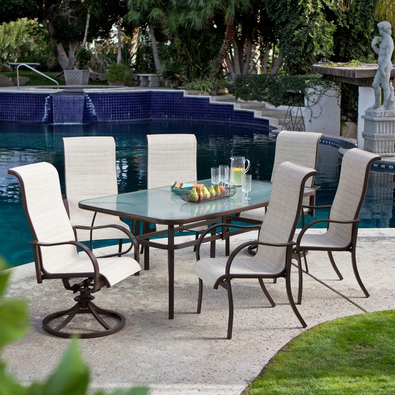 Patio Tables Dining: 72 X 42-inch Rectangle Patio Dining Table, Glass Top