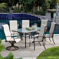 72 x 42-inch Rectangle Outdoor Patio Dining Table with Glass Top and Umbrella Hole LPTHY984475